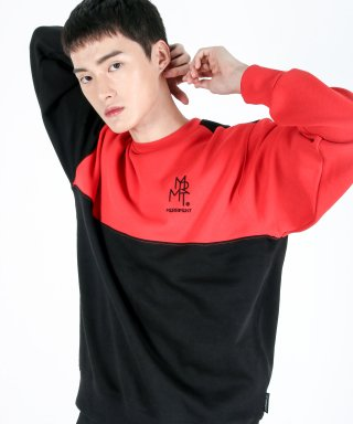 메리먼트(merriment) (유니섹스)Color fleece-lined Sweatshirt(BLACK&RED)