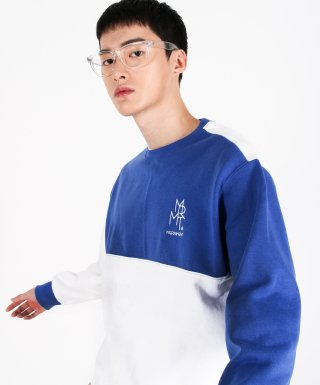메리먼트(merriment) (유니섹스)Color fleece-lined Sweatshirt(BLUE&WHITE)
