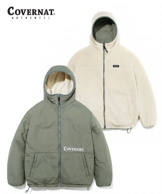 커버낫(covernat) REVERSIBLE FLEECE WARM UP JACKET SAGE GREEN