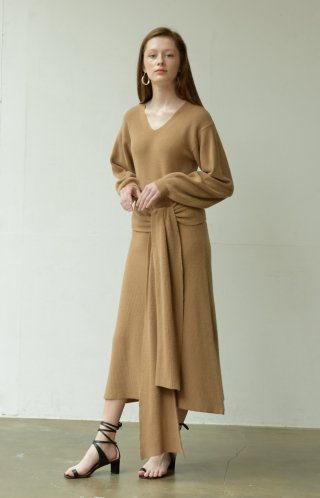 누보텐(nuvo10) belted knit long dress