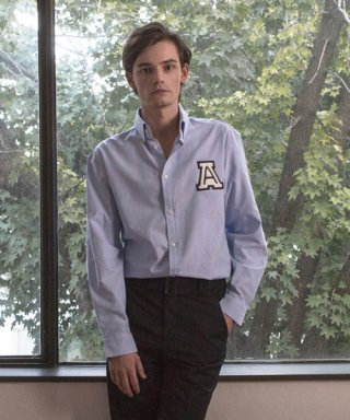 아람(aram) OXF#1 SOLID OXFORD LOGO SHIRT - BLUE