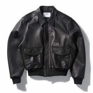 노매뉴얼(nomanual) NM A-2 LEATHER JACKET - BLACK