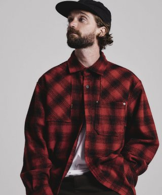 스테이지 네임(stagename) VINTAGE check shirts jacket_RED