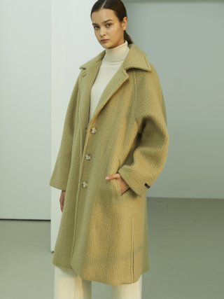 룩캐스트(lookast) LIGHT OLIVE BRUSHED SINGLE WOOL COAT