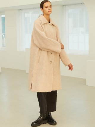 룩캐스트(lookast) LIGHT PINK BRUSHED SINGLE WOOL COAT