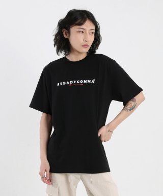 스테디콤마(steadycomma) Basic comma French logo SHORT SLEEVE T-shirt BLACK