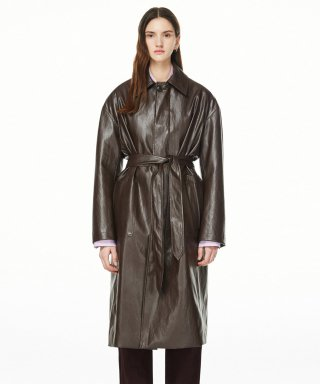 블러1.0(blur) LEATHER TRENCH COAT - BROWN F