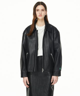 블러1.0(blur) LEATHER 01 JACKET - BLACK