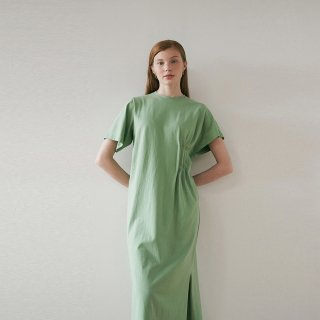 블랭크03(blank03) unbalanced long dress (green)