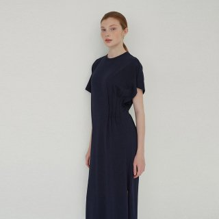 블랭크03(blank03) unbalanced long dress (navy)