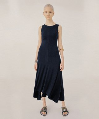 테이즈(taze) Glam Jersey dress (Navy)