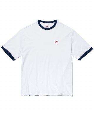 리(lee) SMALL LOGO RINGER T-SHIRT WHITE/RED