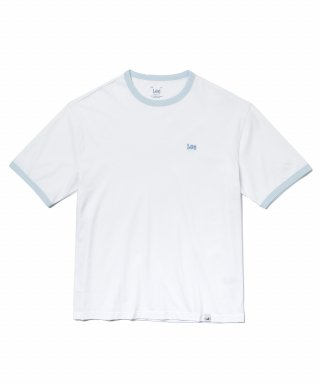 리(lee) SMALL LOGO RINGER T-SHIRT WHITE/BLUE