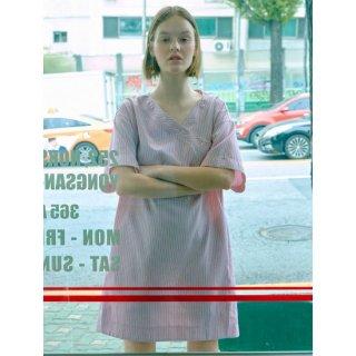 오이아우어(oiauer) Stripe Shirt Dress in Pink (WS9571SG5X)