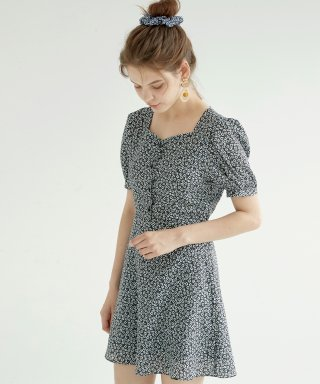 블랭크(blank) FLORAL MINI DRESS-BK