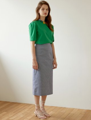 블랭크(blank) CHECK LONG SKIRT-BL