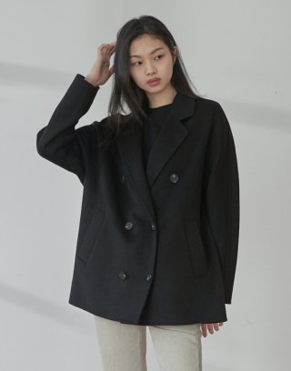 줄리아페페(juliapepe) double handmade coat (black)