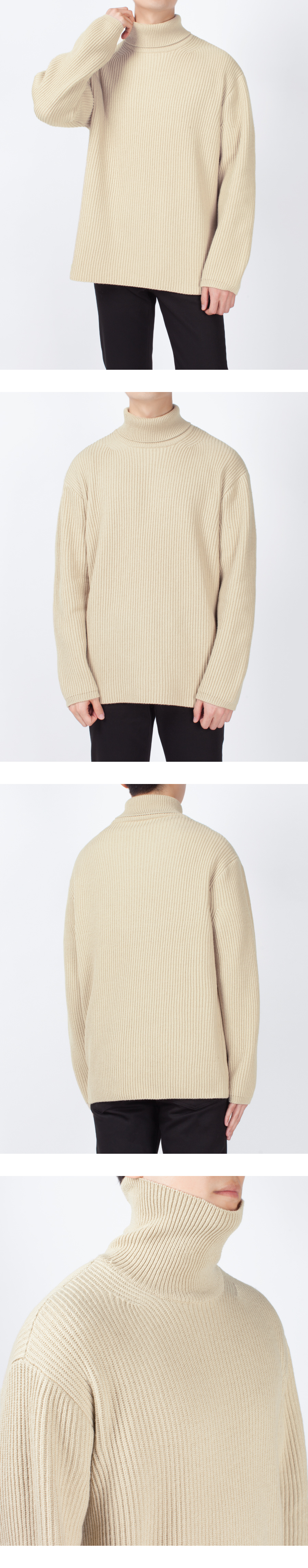 피스워커(PIECE WORKER) Oversize Neck Knit - Beige / Overfit