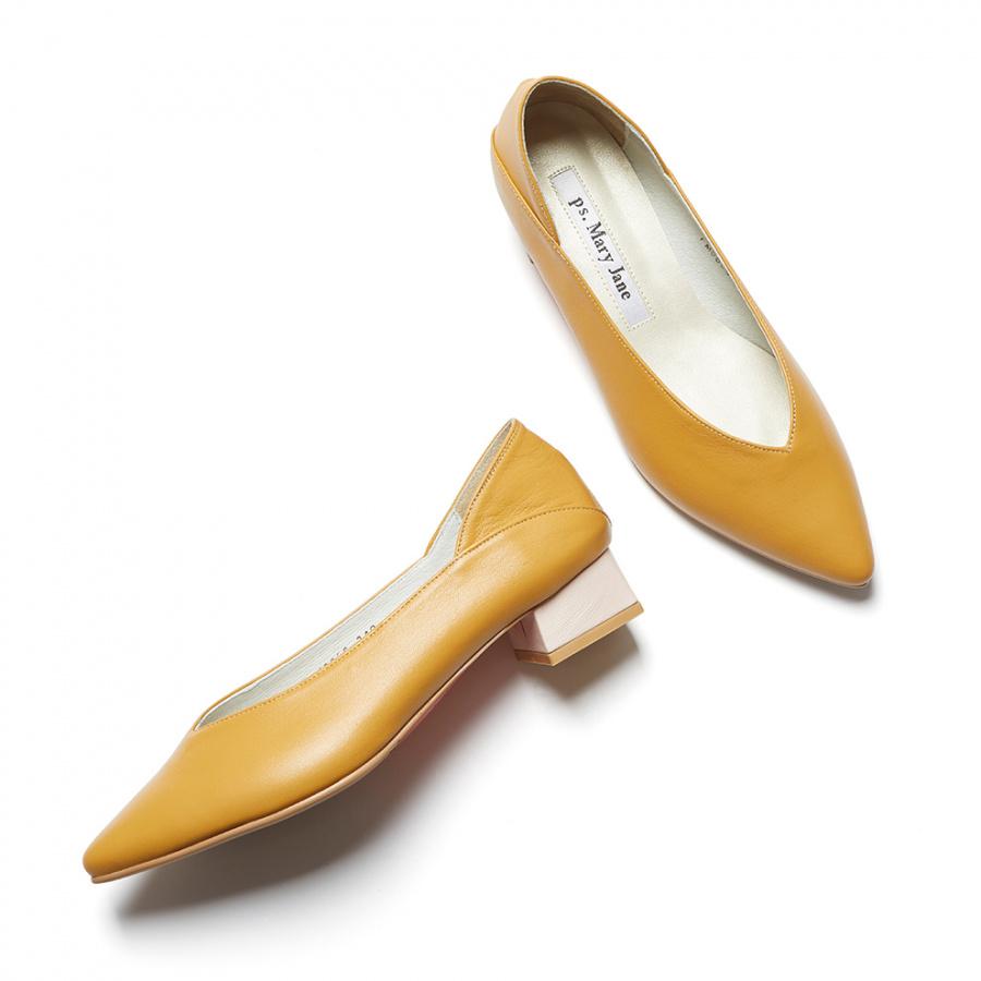 피에스메리제인(PSMARYJANE) PM0009 V cut bloafer mustard