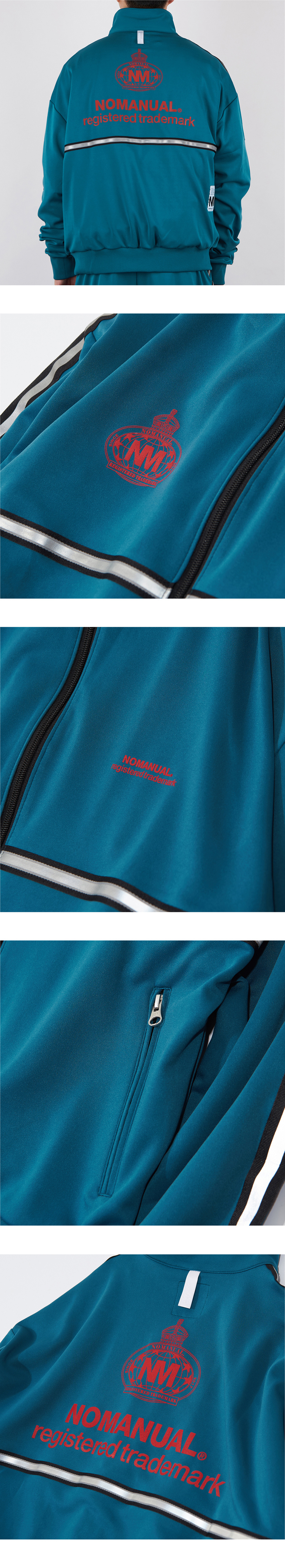 노매뉴얼(NOMANUAL) NM EMBLEM JERSEY TRAINING JACKET - VIRIDIAN