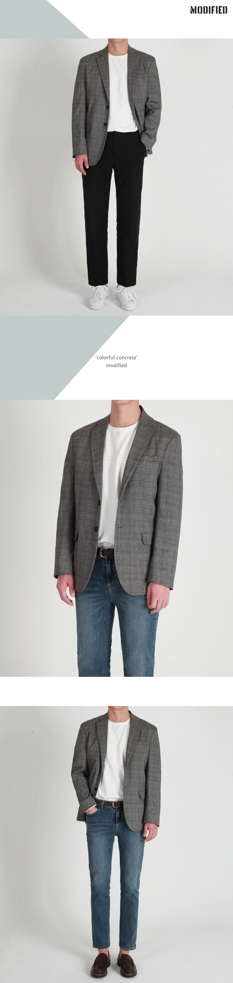 모디파이드(MODIFIED) M#1665 glen check single blazer