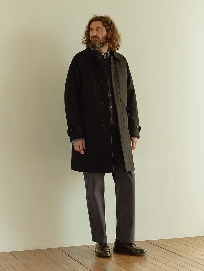 유니폼브릿지(UNIFORM BRIDGE) 18fw wool balmacaan coat black