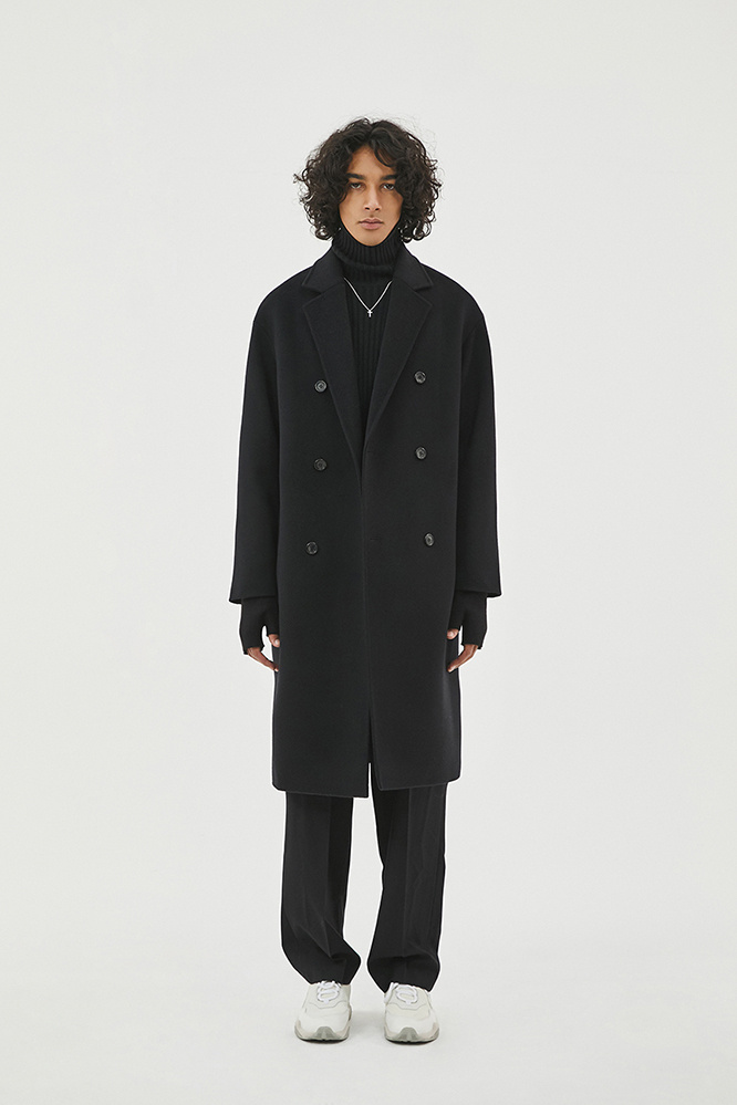더 티셔츠 뮤지엄(THE T-SHIRT MUSEUM) 18aw oversized double coat [black]