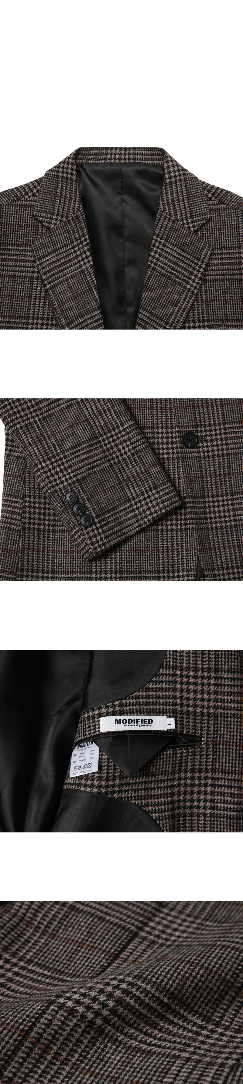 모디파이드(MODIFIED) M#1690 winter glen check wool blazer