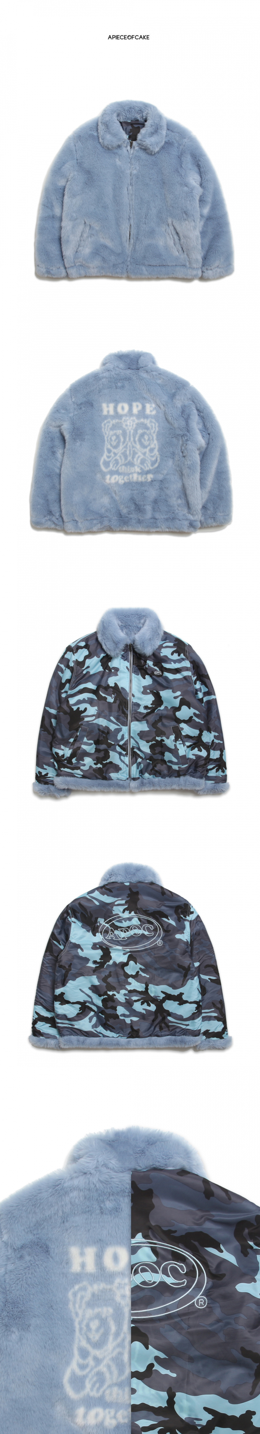 어피스오브케이크(APOC) HTT Fur Jacket_Skyblue