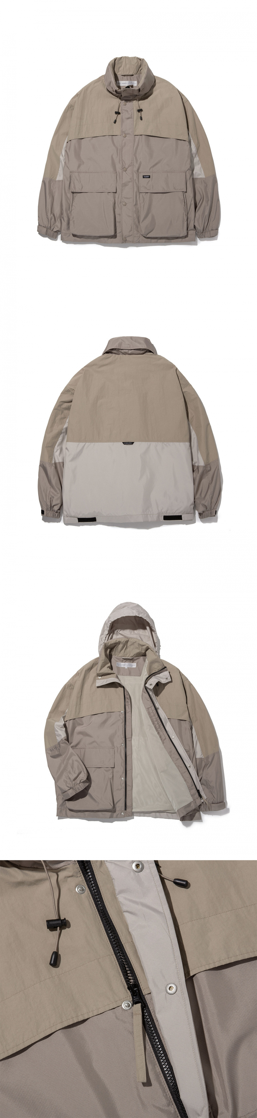 라이풀(LIFUL) COLOR BLOCK WINDBREAKER khaki beige