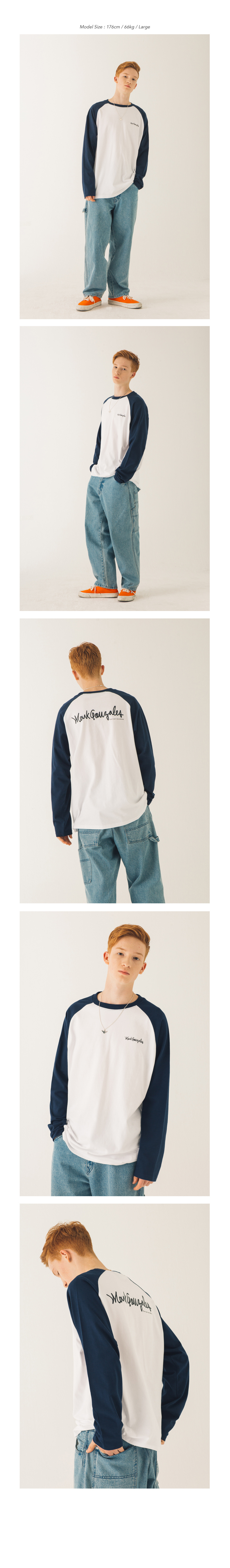 마크 곤잘레스(MARK GONZALES) M/G SIGN LOGO RAGLAN TEE BLACK