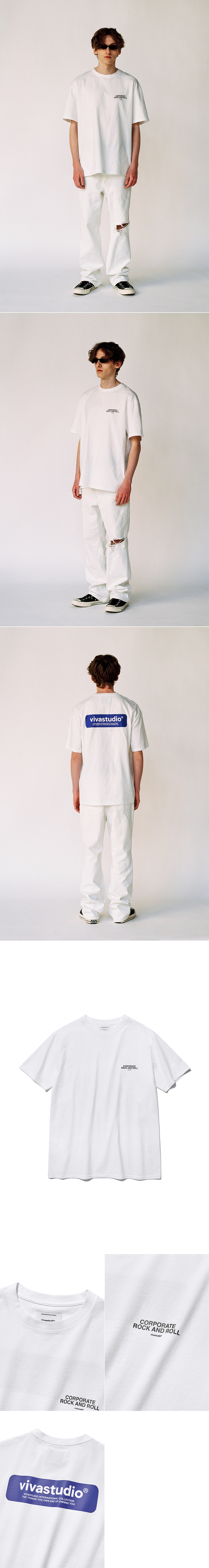 비바스튜디오(VIVASTUDIO) BOX LOGO SHORT SLEEVE IS [WHITE]