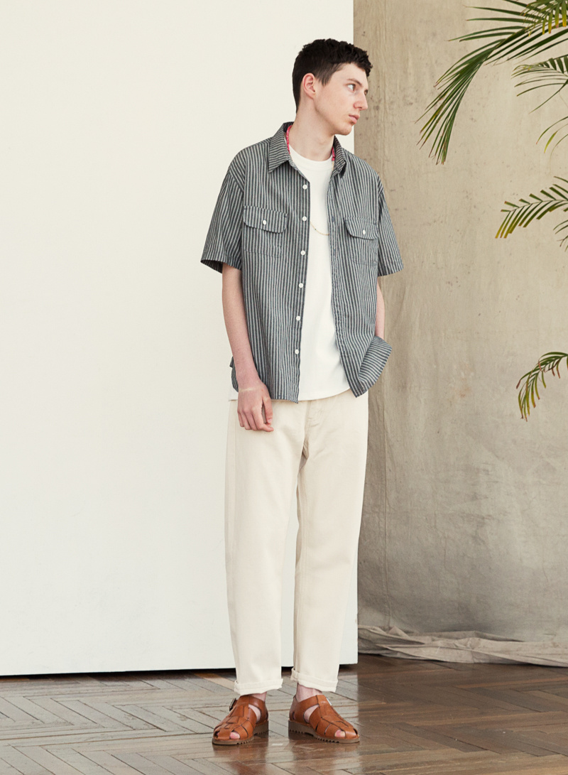 유니폼브릿지(UNIFORM BRIDGE) 19ss washing crop denim pants natural