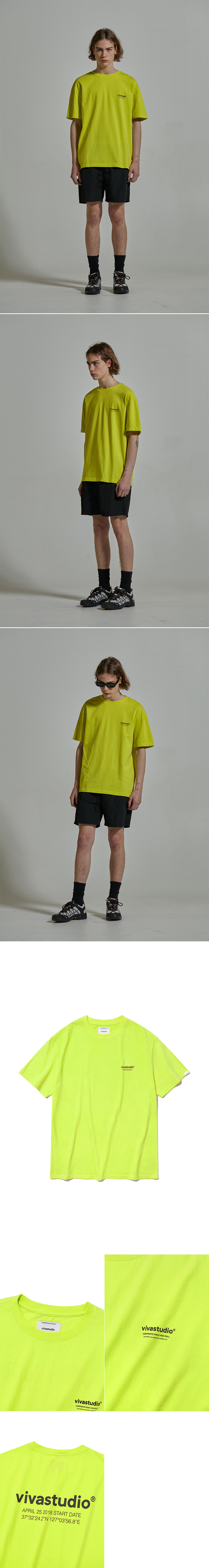 비바스튜디오(VIVASTUDIO) LOCATION LOGO SHORT SLEEVE IS [NEON YELLOW]
