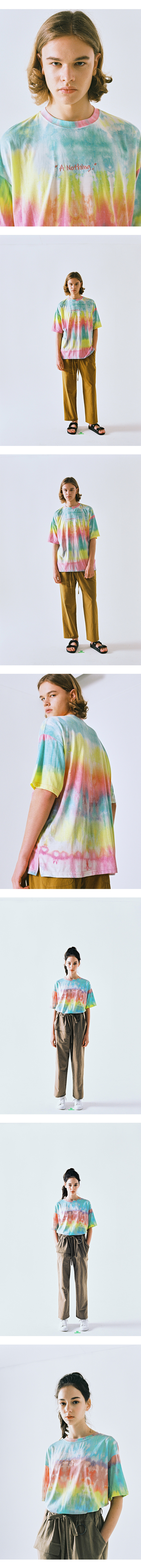 어낫띵(A NOTHING) TIE-DYE DROP-SHOULDER 1/2 TEE (Pink)