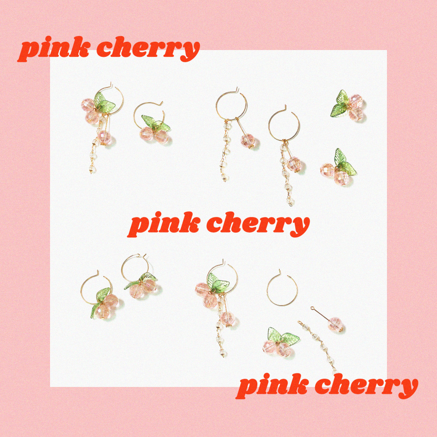 캡틴바나나(CAPTAINBANANA) PINK CHERRY DROP EARRINGS