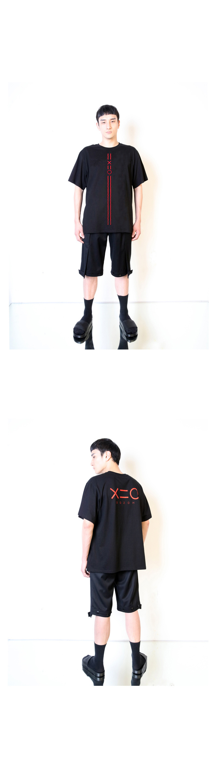 도조(DOZOH) BLACK DOZOH RED EQUAL V LINE&LOGO T-SHIRTS 2