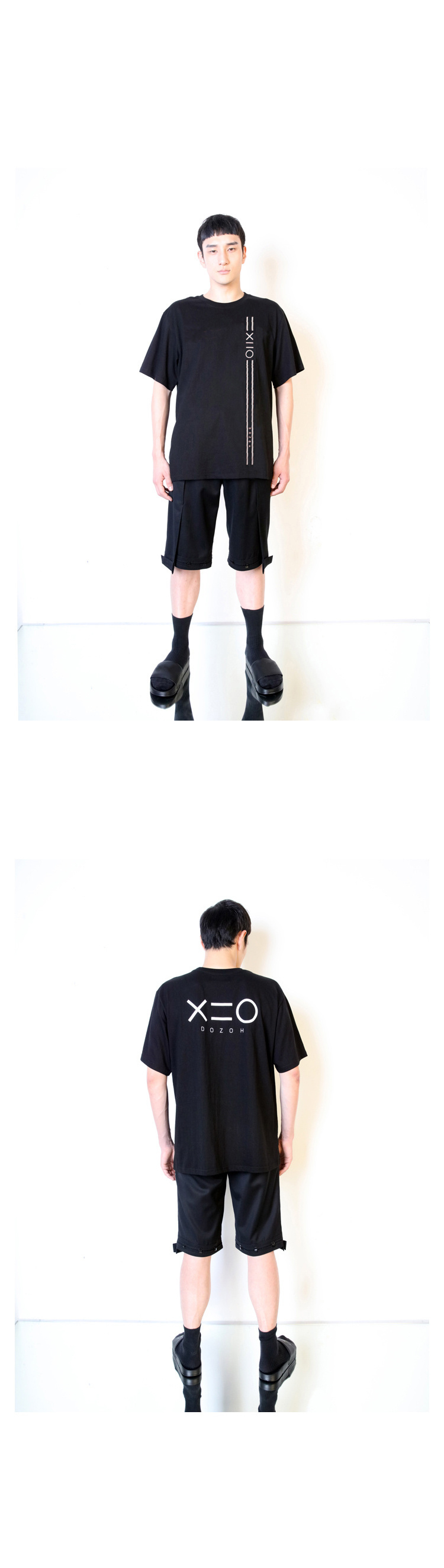 도조(DOZOH) BLACK DOZOH WHITE EQUAL V LINE&LOGO T-SHIRTS