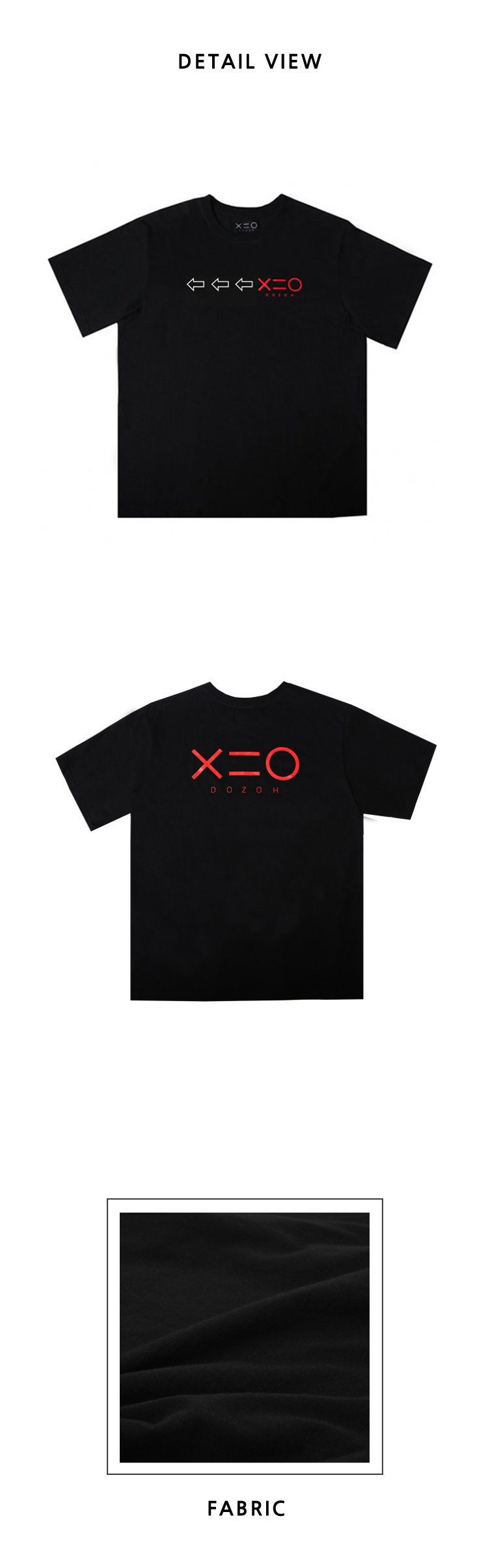 도조(DOZOH) BLACK DOZOH WH/RED ARROW&LOGO T-SHIRTS