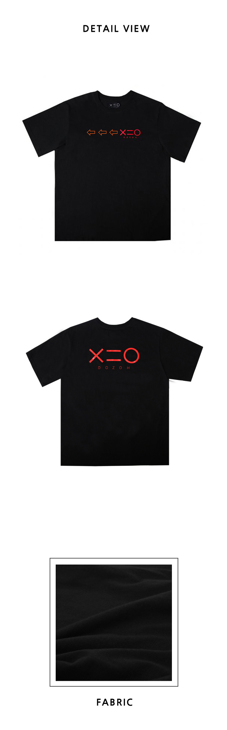 도조(DOZOH) BLACK DOZOH OR/RED ARROW&LOGO T-SHIRTS