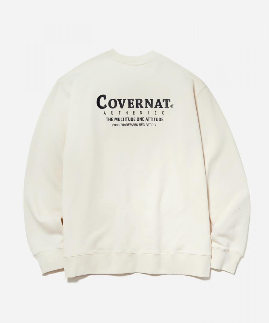 커버낫(COVERNAT) LAYOUT LOGO CREWNECK IVORY