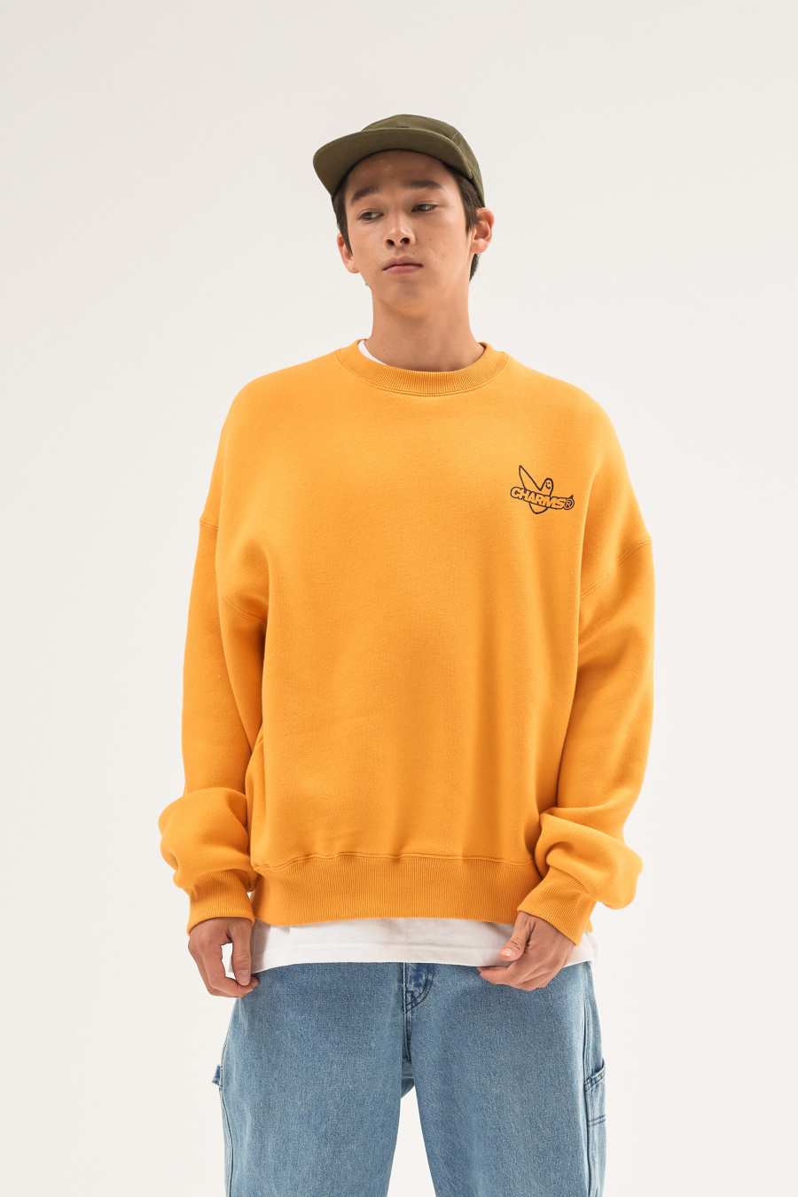 마크 곤잘레스(MARK GONZALES) MG x CHARM`S CIRCLE CREWNECK YELLOW