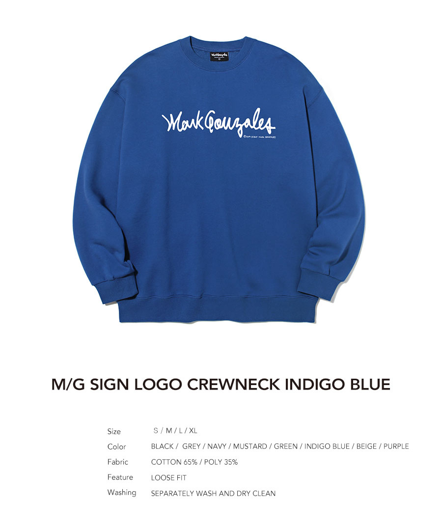 마크 곤잘레스(MARK GONZALES) M/G SIGN LOGO CREWNECK INDIGO BLUE