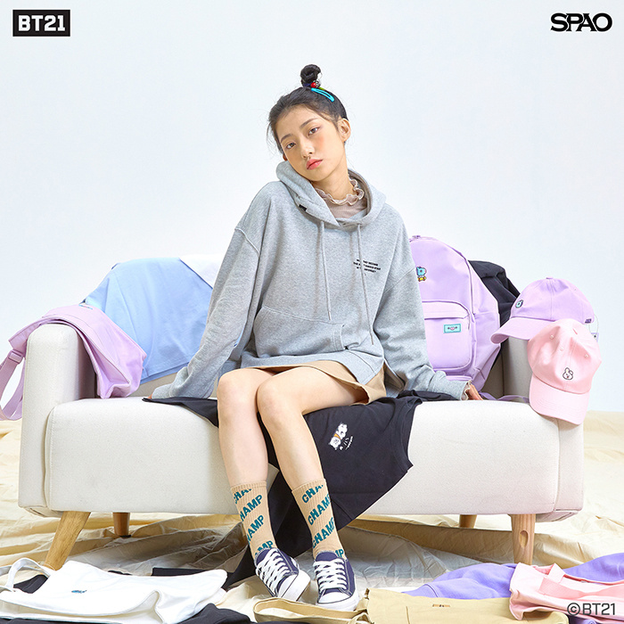 스파오(SPAO) (BT21)슬릿 후드_SPMB949G02_LIGHT PINK