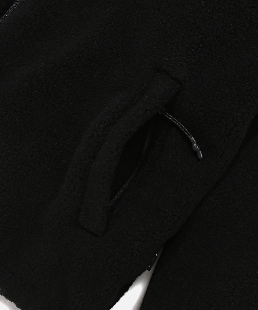 커버낫(COVERNAT) REVERSIBLE FLEECE WARM UP JACKET BLACK