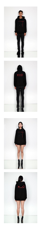 도조(DOZOH) RED LINE & LOGO HOODIE SWEATSHIRTS(BLACK)