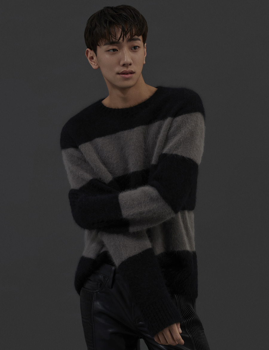 그레이휴(GRAY HUE) [그레이휴X남윤수] Angora Stripe Knit GRAY G9WAK440_97