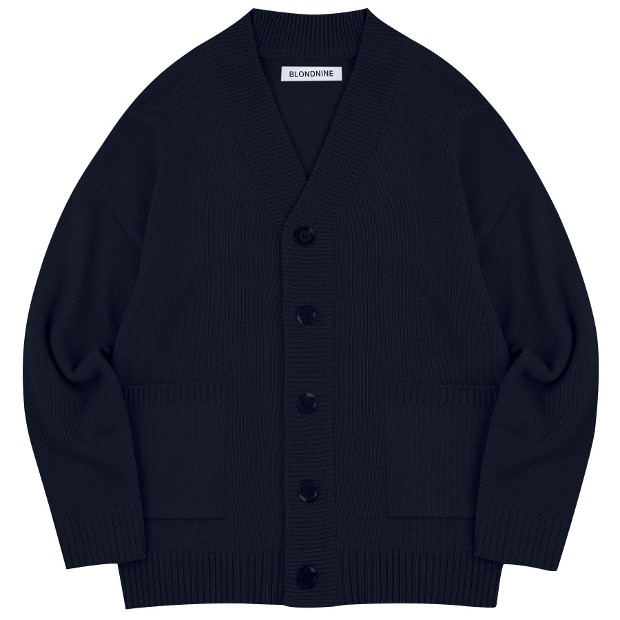 블론드나인(BLOND9) BASIC KNIT CARDIGAN_NAVY