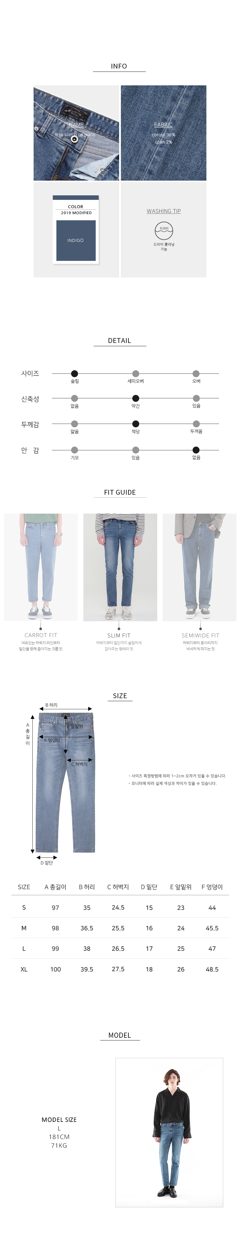 모디파이드(MODIFIED) M#1530 less slim crop jeans