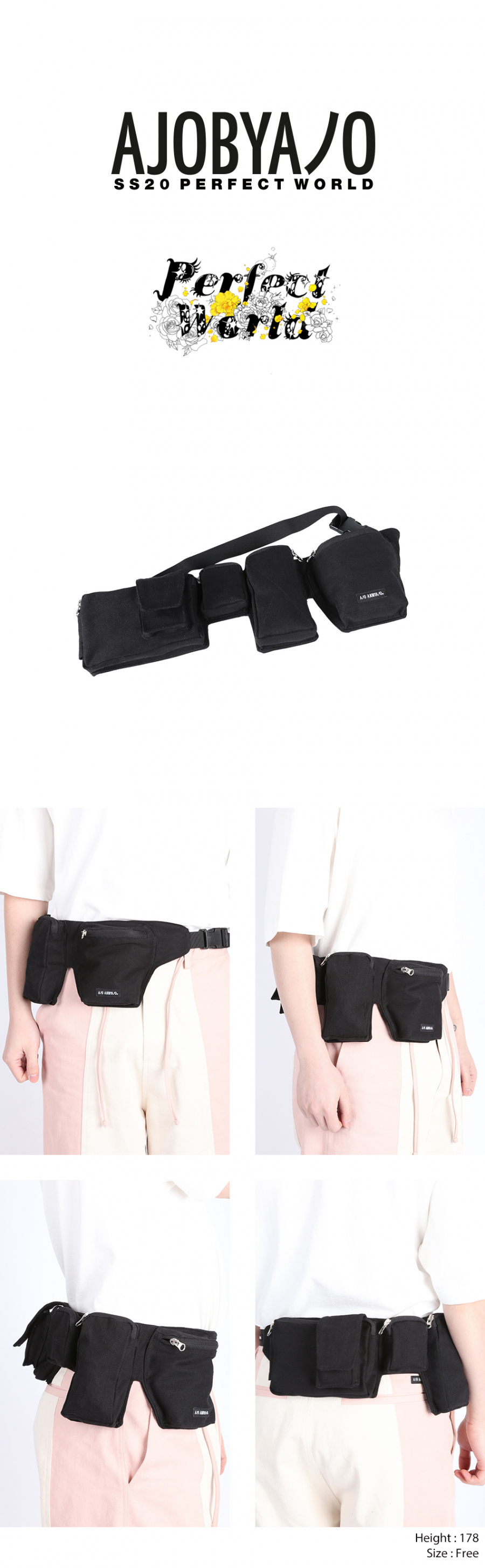 아조바이아조(AJOBYAJO) Fisherman Waist Bag [Black]